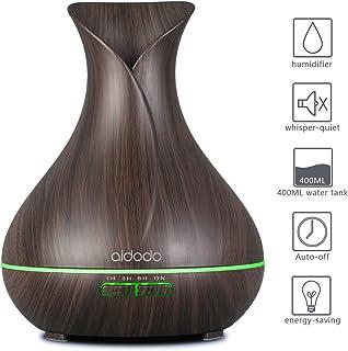 Aidodo 400ml Humidificador Ultrasónico Aromaterapia,Difusor de Aroma Aceites Esenciales con Vapor Frío, 7-Color LED,4 Temporizador, Ambientador,Humidificador Bebes, Hogar, Oficina,Bebé etc