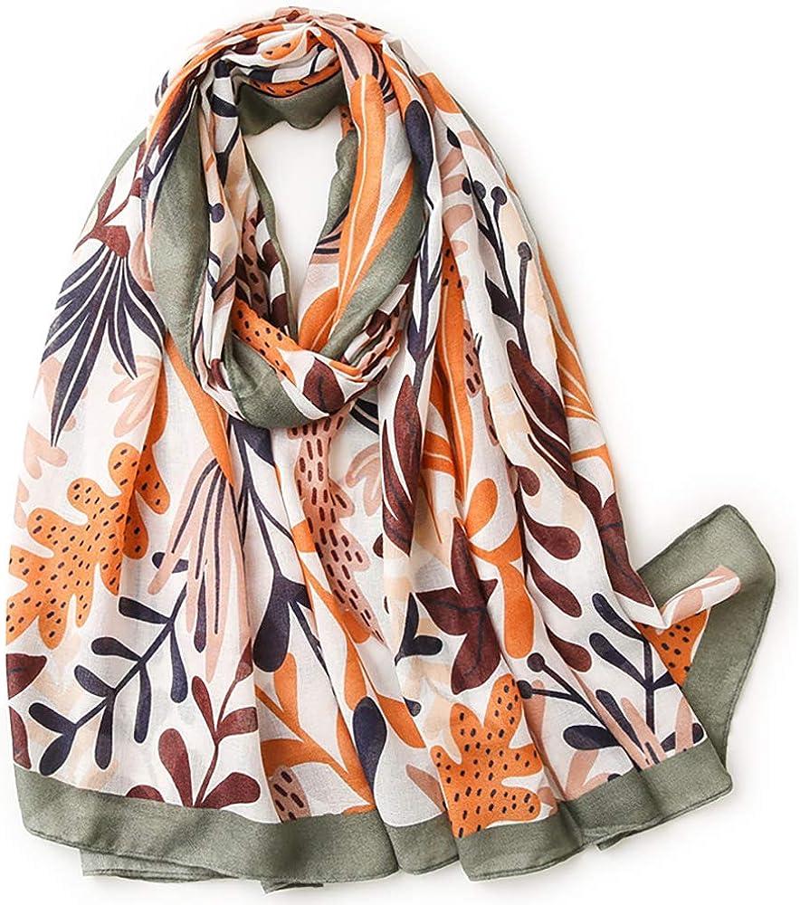 JINGJING & FAN Women's Fashion Large Scarf Holiday Beach Style Series Shawl Accessories Ramie/Linen Cotton Feel