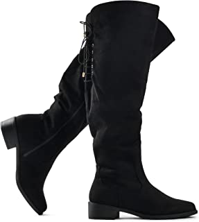 LUSTHAVE Women's Knee High Flat Boots Lace Up Cushioned Lining Drawstring Tall Western Riding Boots Black 5.5