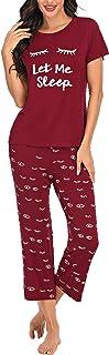 BEIYIHOME Women's Pajamas Set Short Sleeve Tops and Capri Pants Print Sleepwear Soft Pjs Sets Loungewear with Pockets S-XXL
