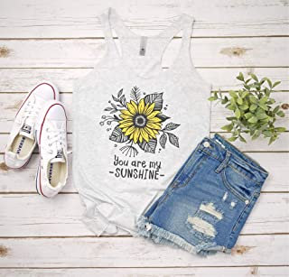 Womens Summer Vacation tank Top Sunflower You are my sunshine Graphic top