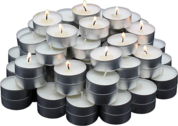 MontoPack Unscented Tealight Candles Bulk 125 Pack Paraffin Pressed Wax Smokeless Dripless Long Lasting Burning For Home Decor Table Centerpieces Birthday Parties Christmas And Pool