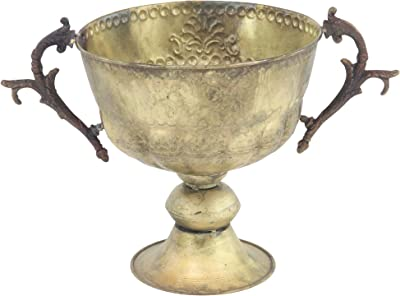 "Deco 79 29349 Traditional Metal Trophy Planter, 13"" W x 11"" H, Brass Gold"