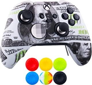 9CDeer 1 x Protective Customize Transfer Print Silicone Cover Skin US dollars + 6 Thumb Grips Analog Caps for [Xbox One Elite] Controller Compatible with Official Stereo Headset Adapter