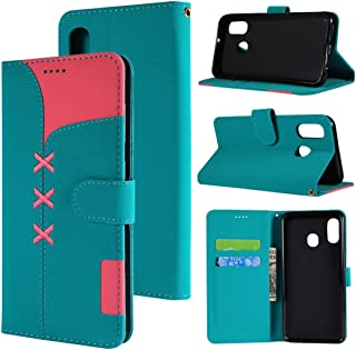 SHUHAN Mobile Phone Case for Galaxy Fabric Stitching Embroidery Horizontal Flip Leather Case With Holder & Card Slots & Wallet for Galaxy A40(Red) (Color : Light Blue)