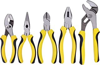 "TOPLINE 5-Piece Pliers Set, Included 8"" Groove Joint Pliers, 7"" Linesman Pliers, 6"" Long Nose Pliers, 6"" Slip Joint Pliers..."