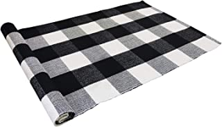 USTIDE 2'x3' Cotton Buffalo Plaid Rugs Black and White Plaid Checkered Outdoor Porch Rugs Hand-Woven Braided Rug Farmhouse Rug Gingham Rug