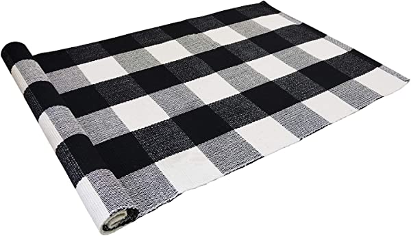USTIDE 2 X3 Cotton Buffalo Plaid Rugs Black And White Plaid Checkered Farmhouse Rug Outdoor Porch Rugs Hand Woven Braided Rug Gingham Rug