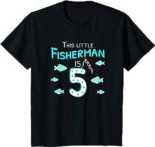 Kids 5th Birthday Boy Fisherman T-Shirt, Fish Birthday Gift