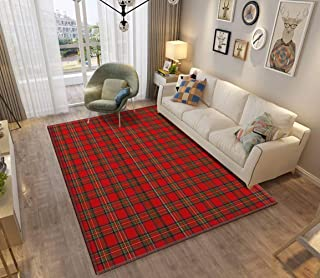 Area Rug and Carpet for Home Living Room, Royal Stewart Tartan Large Anti Slip Contemporary Rug for Floor Home Door