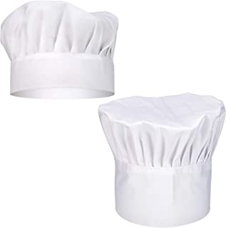 SAVITA 2PCS Chef Hat Charming Round-top Elastic Adjustable Breathable Cook Hat for Adult/Kids, White