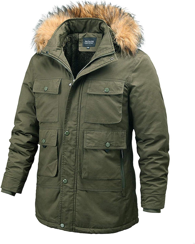Men's Winter Warm Faux Leather Spliced Padded Long Down Alternative Parka Coat Fur Hood Overcoat (Army Green,4X-Large)