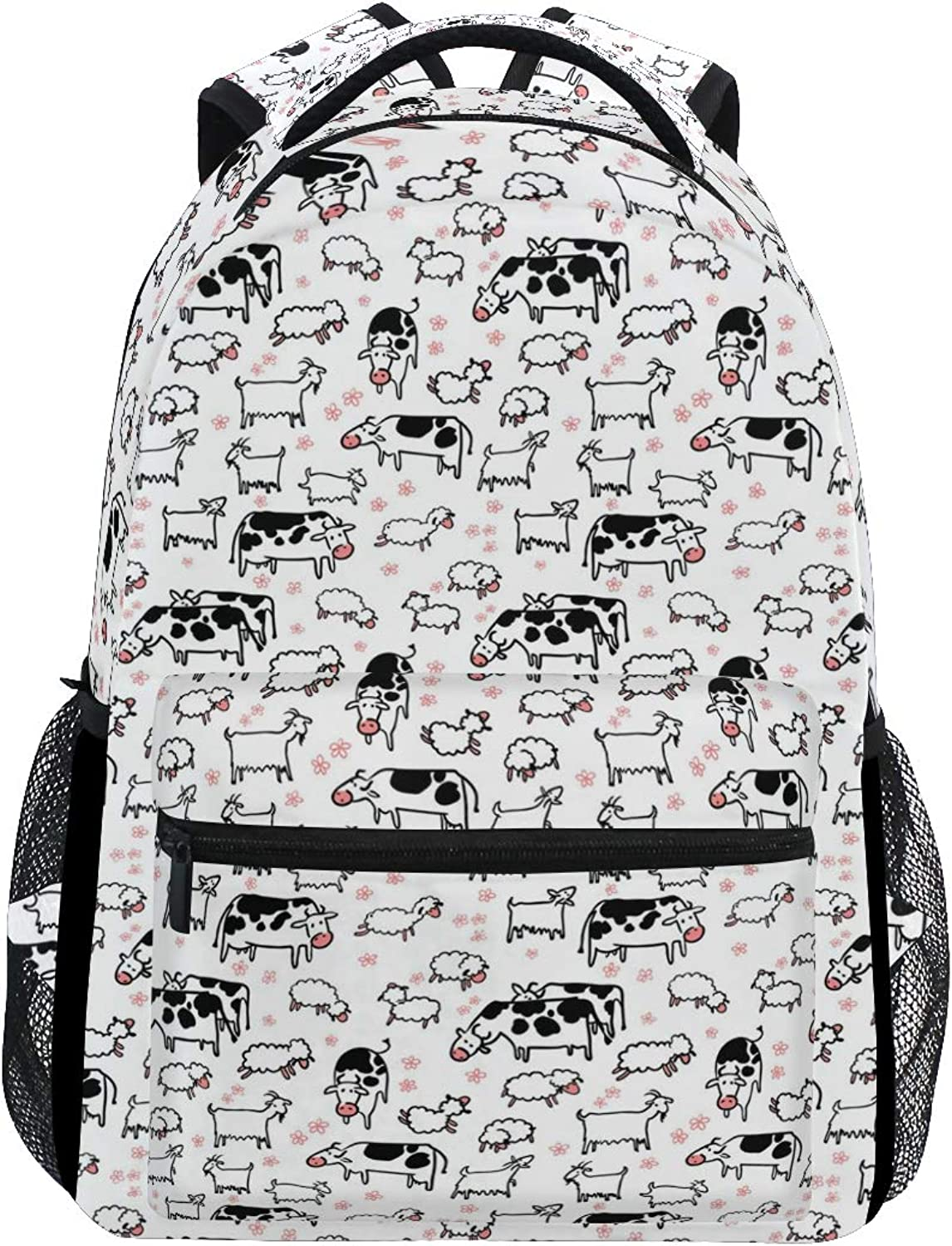 Funny Cows and Lambs Large Backpack Travel Outdoor Sports Laptop Backpack for Women & Men College School Water Resistant