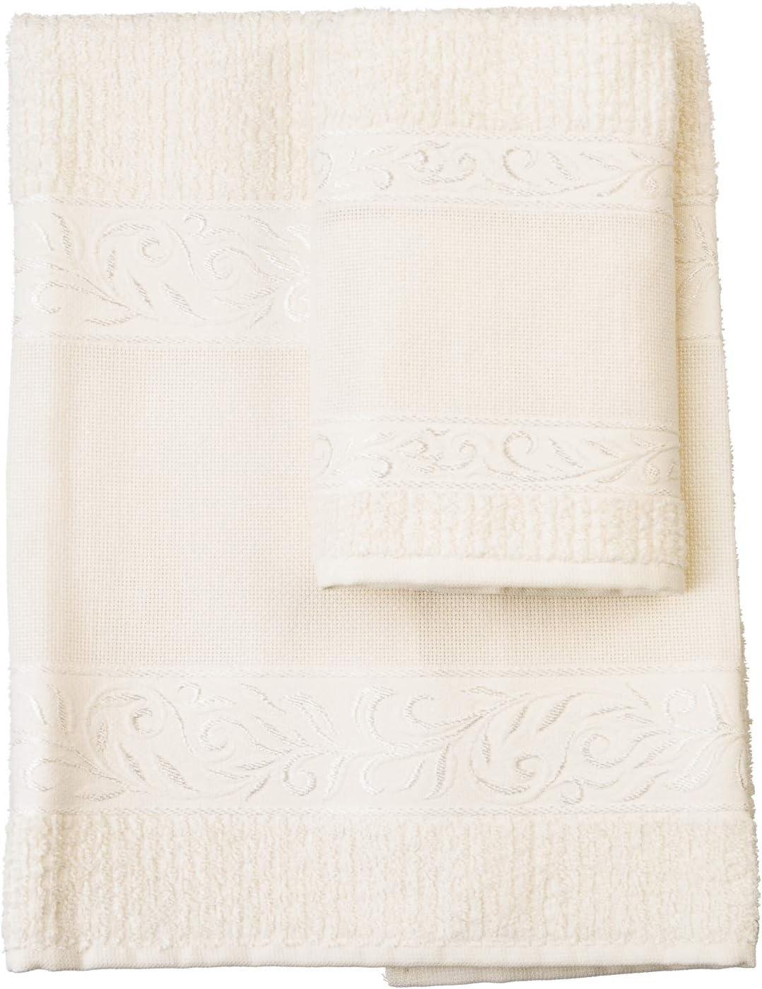Bianco Set Da Bagno I Asciugamano E Manopola I Morbida Spugna I 100/% Cotone I Prodotto Realizzato In Italia I Per Neonati E Bambini Rosa FILET