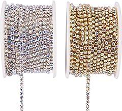 BENECREAT 2 Rollos 18.28m 2.6mm Crystal Rhinestone Cerrar Cadena de Recorte Claro Cadena de Costura Artesania Alrededor de 2740 Piezas Piedras Strass - Crystal AB (Parte Inferior de Plata y Oro)