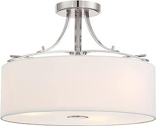 Minka Lavery Semi Flush Mount Ceiling Light 3307-84 Poleis Lighting Fixture, 3-Light 180 Watts, Brushed Nickel