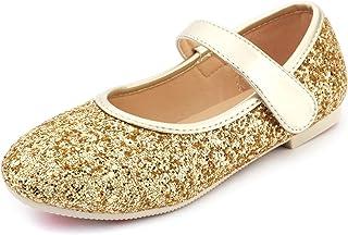 cc4635e9a30 UBELLA Girl s Glitter Sequins Mary Janes Strap Ballet Flats Princess Dress  Shoes (Toddler Little