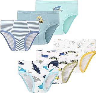 Baby Soft Cotton Underwear Little Boys Dinosaur Briefs Toddler Shark Undies Children Truck Panties(Pack of 6)
