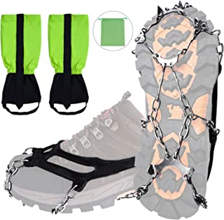 ROYWEL Traction Cleats Ice Snow Grips and Snow Legging Gaiters Set 8/12 Teeth Stainless Steel Anti Slip Crampons with Unisex Waterproof Breathable Outdoor Gaiters