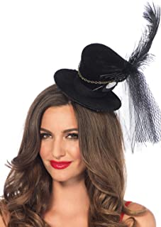 Leg Avenue Women's Steampunk Top Hat With Chain And Feather Accent
