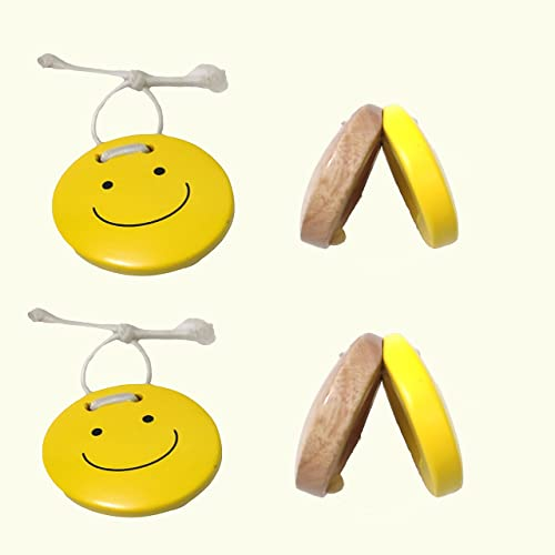 Musical Castanets Instrument Set of 2 Wooden Finger Castanets for Kids Baby Instruments Rhythm Toys