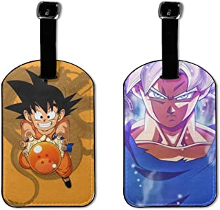 Dragon Ball, Japanese Animation, Goku Ultra Instinct Key Of Egoism Luggage Tags Adjustable Strap Leather Luggages Tag For Baggage Bags/Suitcases 2 Pieces - Name ID Labels Set For Travel