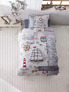 paradise RANFORCE 100% Cotton Nautical Bedding Set, Vintage Ship and Lighthouse Themed Twin Size Quilt/Duvet Cover Set, Kids Bed Set, (3 Pieces)