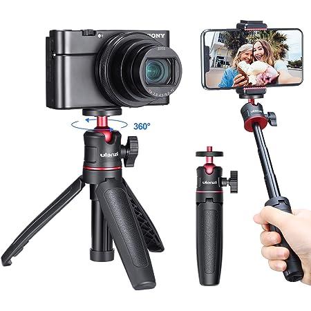 ULANZI MT-08 カメラ三脚スタンド 3way 3段伸縮 ラバーグリップ 自由雲台 軽量 vlog 自撮り棒 持ち運び便利 携帯式 撮影安定 Sony A6600/A6400/A6300/A6000/RX100 VII/A7 III/ZV-1/Fujifilm X-T100 X-T200 X-T4/Canon M6/G7X Mark III/iPhone/Android 適用