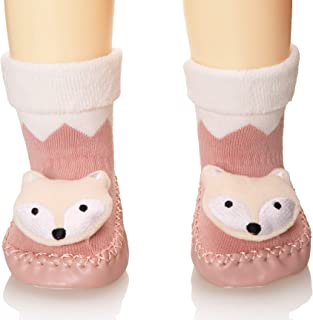 Baby Boy Girls Toddlers Animal Moccasins Non-Skid Indoor Slipper Winter Warm Shoes Socks