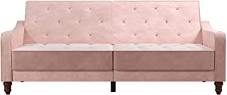 Novogratz Convertible Pink Velvet Vintage Mid-Century Diamond-Tufted Split Back Fold Down Futon Couch Sofa Recliner