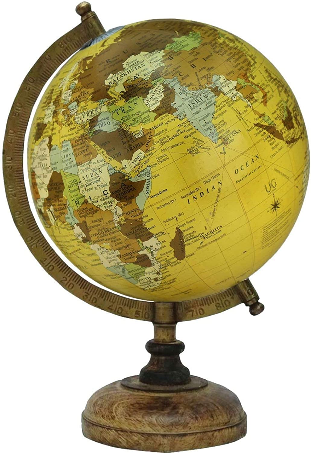 8  New Beige Educational, Antique Globe with Brass Antique Arc and Wooden Base, World Globe, Home Decor, Office Decor, Gift Item by Globes Hub