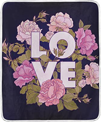 ed706aa7e0 Chen Miranda Rose Flower Love Word Blanket Super Soft Lightweight Warm  Blanket Microfiber Season Blanket 50x60