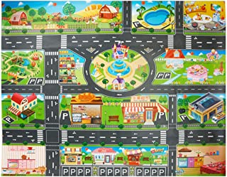 Vie de la ville de tapis de tapis de enfants, tapis en plastique de PVC -100X130cm tapis de jeu de tapis de tapis et cadea...