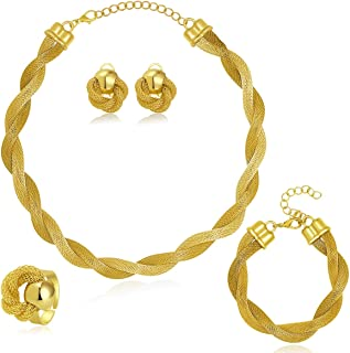 MOOCHI Africa Style Gold Plated Necklace Earrings Bracelet Ring Jewelry Set