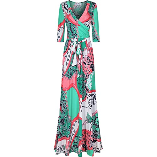 1e4274b14dd Bon Rosy Women's #MadeInUSA 3/4 Sleeve V-Neck Printed Maxi Faux Wrap