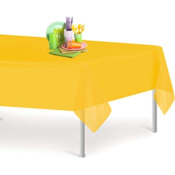 """By Party Dimensions SYNCHKG118621 4 Pack 84/"""" Premium Quality Disposable Party Table Covers for Parties and Events Sunshine Yellow Round Plastic Tablecloth"""