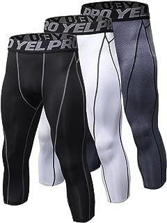 Yuerlian Men's Compression 3/4 Capri Shorts Baselayer Cool Dry Tights Leggings Sports Tights