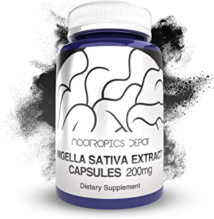 Nigella Sativa Extract Capsules | 200mg | 120 Count | Minimum 5% Thymoquinone Content | Black Seed Oil Extract | Supports Brain Health, Memory, Liver Health, and Immune Function | Nootropics Depot