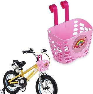 Mini-Factory Kid's Bike Basket Pink Cute Love Rainbow Pattern Bicycle Handlebar Basket for Girls