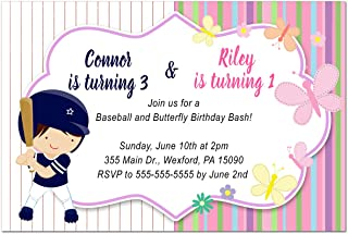 30 Invitations kids birthday party baseball and butterflies photo paper