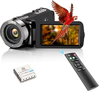 """Caméra vidéo FHD 1080p 24 MP YouTube Vlogging, enregistreur 3"""" 270 degrés, écran LCD TFT 16X avec télécommande et 1 batterie"""