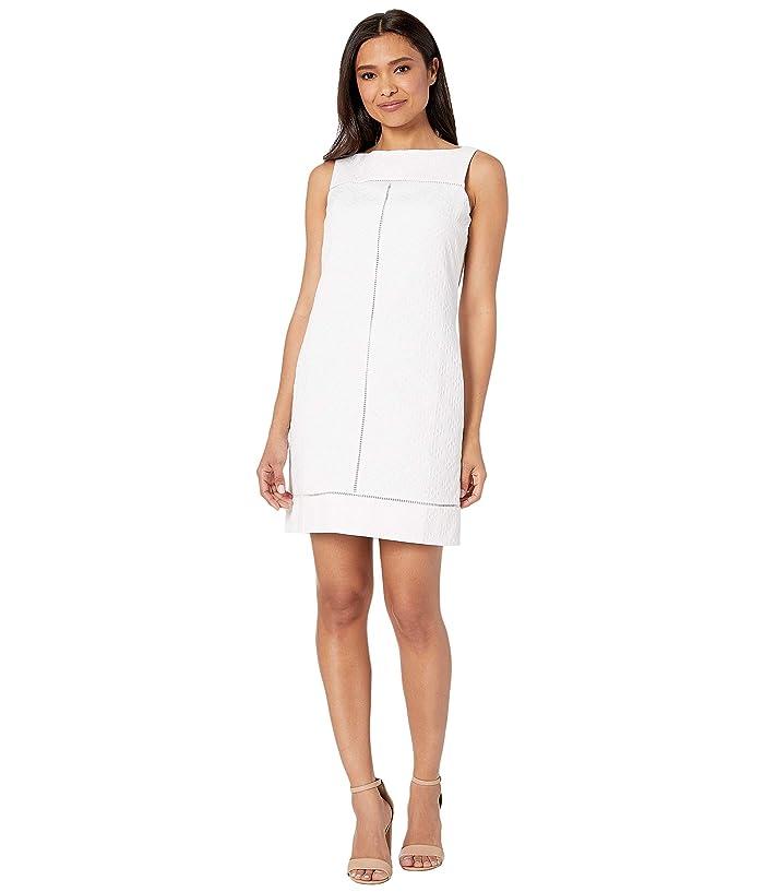 Vintage White Dresses 1900-1970s Maggy London Geo Diamond Stripe Novelty Shift White Womens Dress $88.80 AT vintagedancer.com