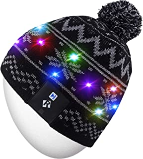 Rotibox Stylish LED Light Up Beanie Hat Knit Cap Best Presents for Unisex Men Women Indoor and Outdoor, Festival, Holiday, Celebration, Parties, Bar, Christmas Gifts