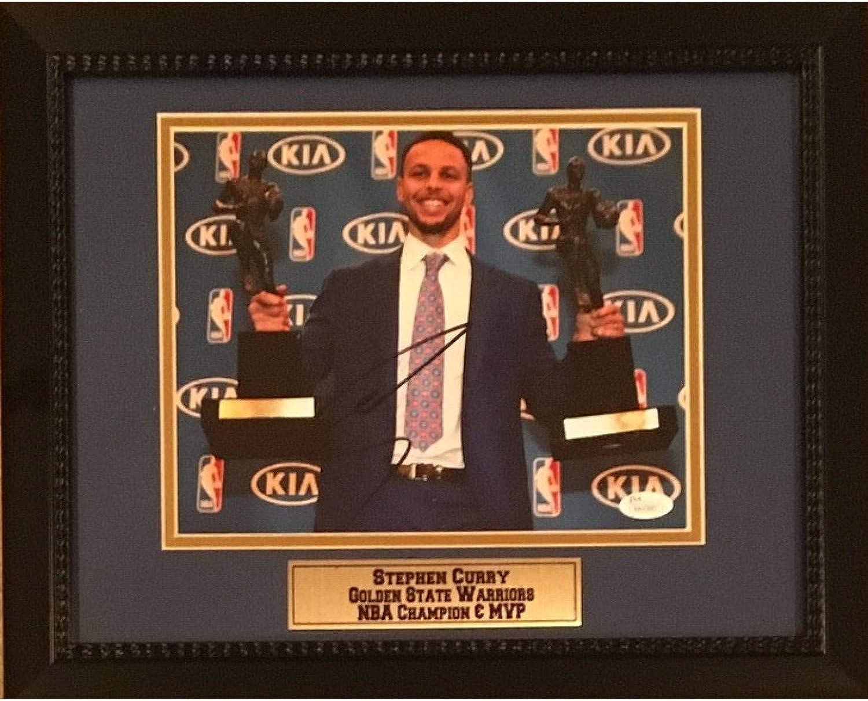 Stephen Curry Autographed golden State Warriors Signed NBA Champion MVP 8x10 Framed Basketball Photo JSA COA 3