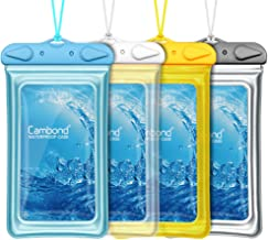 "Cambond Floatable Waterproof Phone Pouch, Floating Water Proof Cell Phone Case Both Sides Clear Dry Bag for iPhone 11/XS Max/XR/X/8/7 Plus Galaxy Up to 6.5"", Snorkeling Cruise Ship Kayaking, 4 Pack"