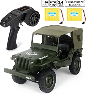 JJRC Rc Trucks, Military Truck Drive Off-Road Rc Cars, 1:10 Scale High Speed 46km/h 4WD 2.4Ghz Remote Control Trucks for Adults and Kids