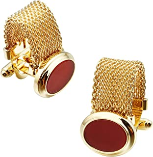 Mens Cufflinks with Chain - Stone and Shiny Gold Tone Shirt Accessories - Party Gifts for Young Men