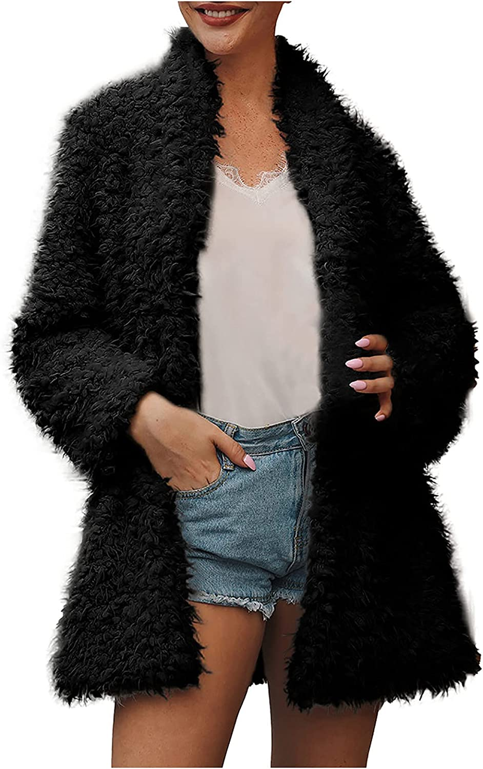 Euone_Clothes Coats for Women, Womens Ladies Warm Faux Fur' Coat Jacket Solid Turn Down Collar Outerwear