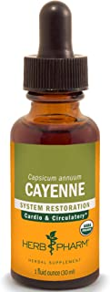 Herb Pharm Certified Organic Cayenne Extract for Cardiovascular and Circulatory Support - 1 Ounce, DCAYEN01, 1 Fl Oz (Pack...
