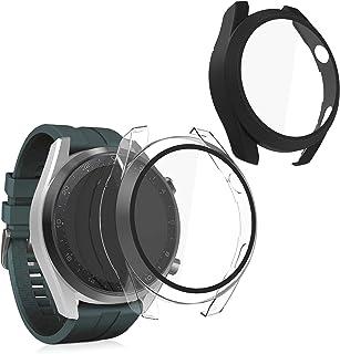 جراب متوافق مع ساعة هواوي 3 برو مع اطار بلاستيك من الزجاج المقوى (مجموعة من قطعتين) من كيه دبليو موبايل - اسود/شفاف